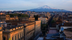 View of Mt Etna at sunrise from the roof of the UNA Hotel Palace in Catania