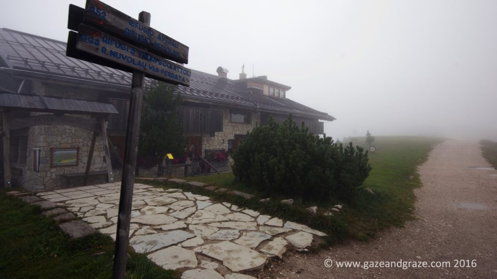 The Hotel Passo Giau sits along some great walks with iconic views that we'll have to imagine are there on this rainy day